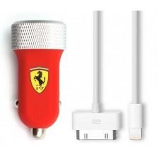 Зарядное устройство для USB в машину с дополнительными проводами для iPhone от Ferrari, красного цвета