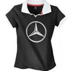 Оригинальное женское поло с большим логотипом Mercedes-Benz