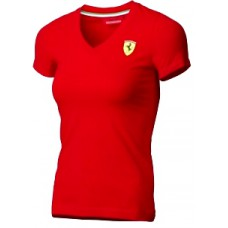 Женская футболка Ferrari Women V-neck Tee Red красного цвета