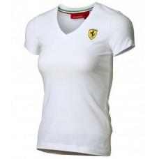 Женская футболка Ferrari Women V-neck Tee White белого цвета