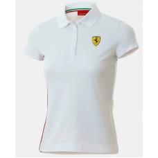 Женская рубашка-поло Ferrari Classic белого цвета