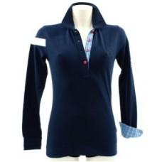 Женское поло с длинным рукавом Peugeot Piquee синего цвета